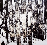 'The wood', tar and chalk on canvas, 80 x 80 cm., 2010