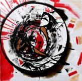 'Tokyo blues', mixed media on canvas, 100 x 100 cm., 2016