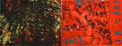 13. 'Red/black polarity', mixed media on canvases, 160 x 60 cm., 2006 – Private Collection