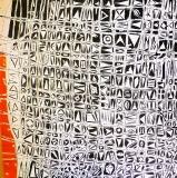 'Cuneiform life', acrylic and tar on canvas, 80 x 80 cm., 2015