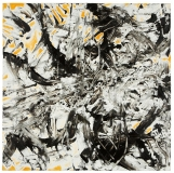 'Explosion', acrylic chalk and tar on canvas, 100 x 100 cm., 2006 – Permanent Collection in Chiaramonti, (SS), Italy
