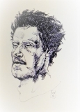 'Copy from Annigoni, Renzo Simi's portrait', pen on paper, 21 x 29 cm., 2016