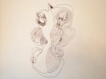 'A meeting', pen on paper, 21 x 29 cm., 2004