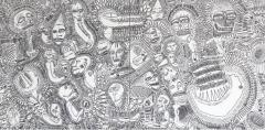 'MOAB', feltip pen on canvas, 200 x 100 cm., 2017