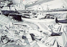 3 'A trip on canoa', pen on paer, 21 x 29 cm., 2005