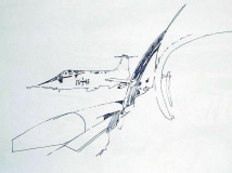 'Aerial vision' (from 'F-104G series'), pen on paper, 21 x 29 cm., 2007