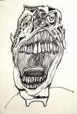 'yawn', permanent marker on paper, 33 x 48 cm., 2018