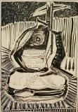 'uncertain buddha', ink on paper, 100 x 70 cm., 2018