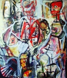 5. 'Who wins who loses', acrylic and oil on canvas, 50 x 70 cm., 2002