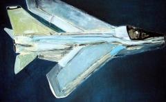 'Volo blu', acrilico su tela, 25 x 50 cm. circa, 2006