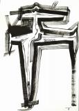 'crocifissione', inchiostro su carta, 29 x 42 cm., 2018