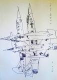 'Nuovi torricini urbinati', penna su carta, 21 x 29 cm., 2007