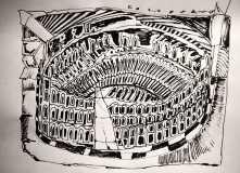 Colosseo, schizzo, penna su carta, 21 x 29 cm, 2021