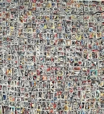 Alfabeto psichico (la civiltà degli abitanti che non vollero essere umani), acrilico e catrame su tavola, 60 x 60 cm., 2018