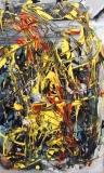 Senza titolo, acrilico catrame olio su tela, 25 x 50 cm., 2005 - Coll. Privata