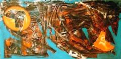 'Planisfero pazzo', mista su tela, 25 x 50 cm., 2004