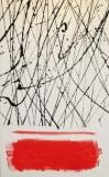 'Astratto e campo rosso', catrame e acrilico su tela, 25 x 40 cm, 2014