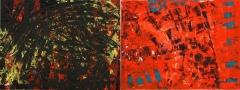 polarità'Polarità rosso-nero', mista su tele accostate, 160 x 60 cm., 2006 - Coll. Privata
