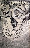 Mostri, pennarello e inchiostro su tavola, 160 x 100 cm, 2019