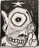 Testa, pennarello su cartone telato, 15 x 18 cm, 2019