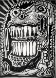 Testa, pennarello su cartone telato, 15 x 18 cm, 2020