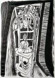 'caged buddha', penna su carta, 21 x 29 cm., 2018