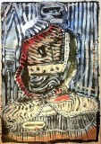 'buddha striato', mista su carta, 100 x 70 cm., 2018