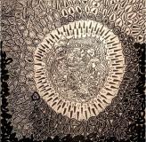 Kernel, pennarello indelebile su tavola, 60 x 60 cm, 2019