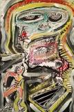 'il guerrigliero', acrilico e inchiostro su tela, 40 x 60 cm., 2017