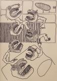 'L'uscita', pennarello su carta, 50 x 70 cm., 2017