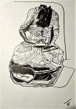 'buddha', inchiostro e pennarello su carta, 29 x 42 cm., 2018