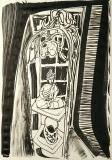 'buddha dentro', inchiostro e pennarello su carta, 29 x 42 cm., 2018
