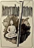 'budda nello scuro', pennarello su carta, 29 x 42 cm., 2018