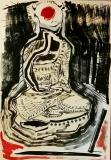 'buddhino', mista su carta, 100 x 70 cm., 2018