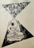 'trasmissioni', mista su carta, 100 x 70 cm., 2018