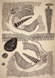 'Due di picche', pennarello su carta, 50 x 70 cm., 2017