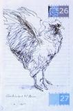 'Volo poco sostenuto', penna su carta, 14 x 20 cm., 2004