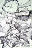 'Costruzione astratta', penna su carta, 14 x 10 cm., 2005