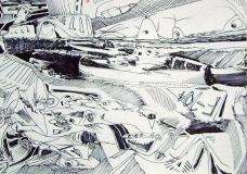 'Viaggio in canoa', penna su carta, 21 x 29 cm., 2005