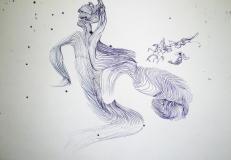 'Muscoli', penna su carta, 21 x 29 cm., 2004