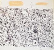 'Cosa lascio a terra', penna e pastello su carta, 15 x 12 cm ca., 2003