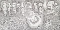 'La parata', pennarello su tele accostate, 200 x 100 cm., 2017