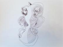 'Un incontro', penna bic su carta, 21 x 31 cm. ca, 2006