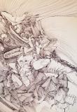 'Paesaggio rinfrancato', penna su carta, 21 x 30 cm., 2004