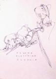 'Pecora elettrica sveglia', penna su carta, 21 x 29 cm., 2007