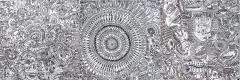 'Itinerarium mentis', pennarello su tele accostate, 240 x 80 cm., 2017