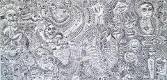 'Apocalypto', pennarello su tele accostate, 200 x 100 cm., 2017