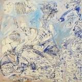 'Enfer', penna e acrilico su tela, 40 x 40 cm., 2003