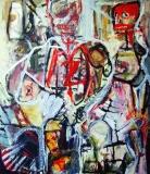 'Chi vince e chi perde', acrilico e olio su tela, 50 x 70 cm., 2002