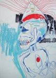 'Volta le spalle', penna e pastello a cera su carta, 21 x 29 cm., 2006